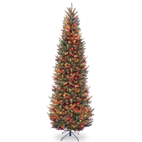 9' Natural Fraser Slim Fir Artificial Christmas Tree - Multicolor Lights - IMAGE 1