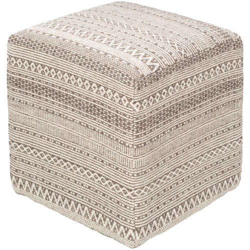 """18"""" Brown and Ivory Tribal Patterned Wool Pouf Ottoman - IMAGE 1"""