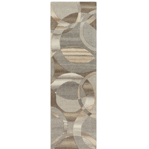 3' x 12' Geometric Circle Patterned Brown and Gray Hand Tufted Area Throw Rug Runner - IMAGE 1