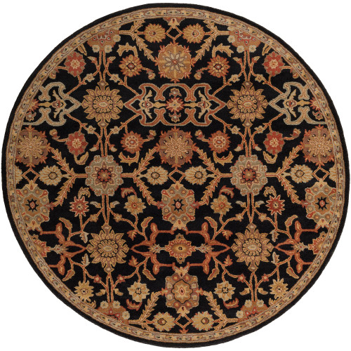 8' Floral Patterned Black and Beige Round Area Throw Rug - IMAGE 1