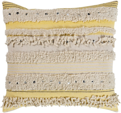 """18"""" Cream and Butter Striped Pattern Square Throw Pillow - Poly Filled - IMAGE 1"""