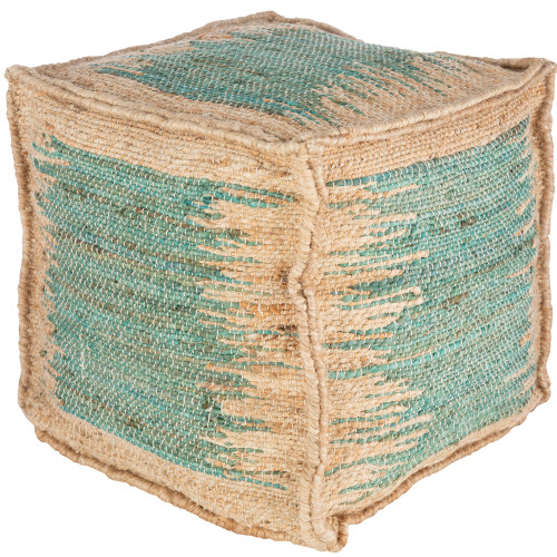 """16"""" Distressed Design Teal Blue and Brown Jute Square Pouf Ottoman - IMAGE 1"""