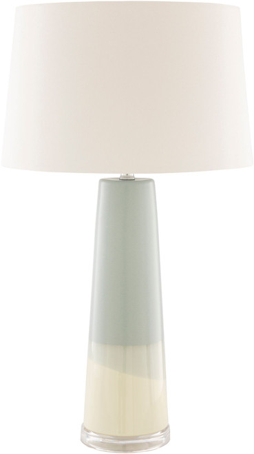 """28.5"""" Pale Blue and Beige Table Lamp with White Drum Shade - IMAGE 1"""