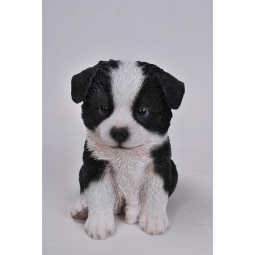 "6.75"" White and Black Border Collie Puppy Figurine - IMAGE 1"