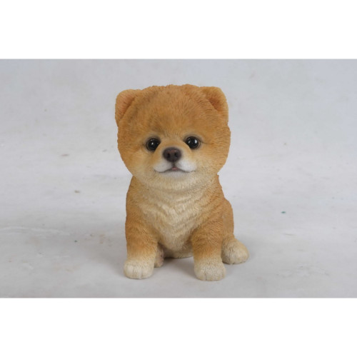 """6"""" Brown and White Sitting Pomeranian Puppy Figurine - IMAGE 1"""