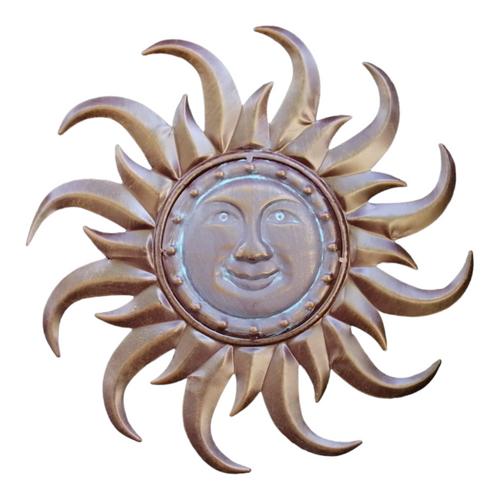 "15.75"" Bronze Sun Face Decorative Outdoor Garden Statue - IMAGE 1"