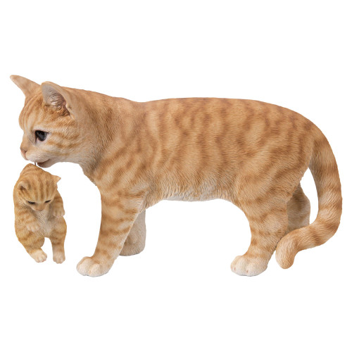 "16.75"" Orange and White Tabby Mother Cat Carrying Kitten Statue - IMAGE 1"