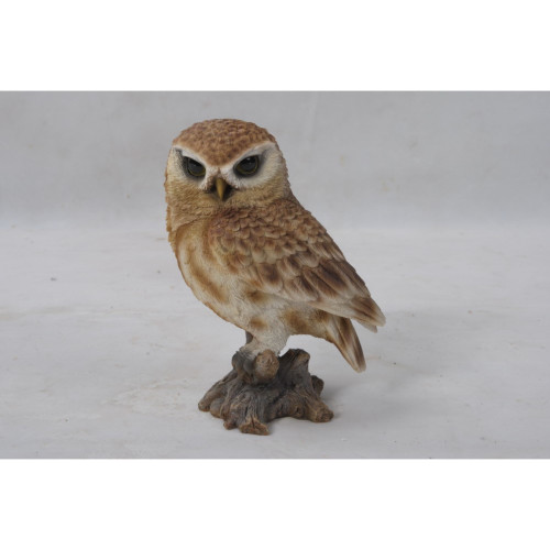 """6"""" Brown and Beige Small Owl on Stump Figurine Statue - IMAGE 1"""