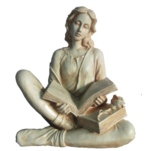 """15.75"""" Cream White and Gray Reading Lady Garden Statue - IMAGE 1"""