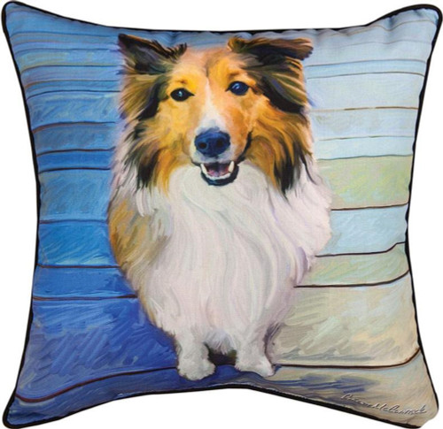 "18"" Blue and White Sheltie Dog Square Throw Pillow - IMAGE 1"