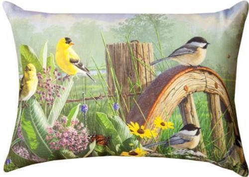 "Green and Yellow Meadow's Garden Themed Edge Rectangular Throw Pillow 18"" - IMAGE 1"