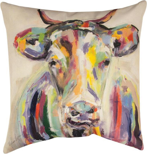 """18"""" Creamy Ivory and Yellow Cow Art Square Decorative Throw Pillow - IMAGE 1"""