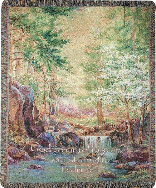 """Green and Brown Nature Themed Tapestry Throw Blanket 50"""" x 60"""" - IMAGE 1"""