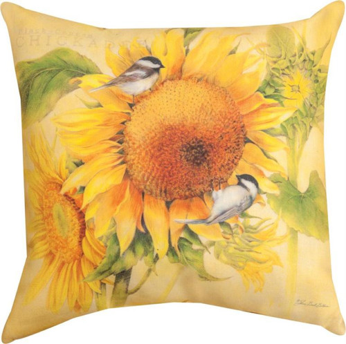"""18"""" Yellow and Green Chickadee Square Throw Pillow - IMAGE 1"""
