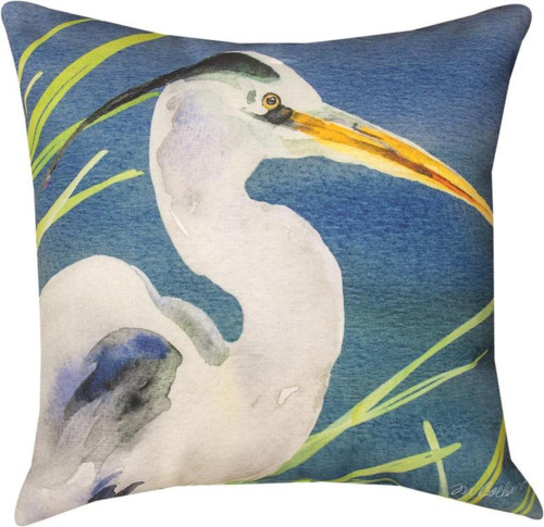 "18"" Blue and White Contemporary Heron Square Throw Pillow - IMAGE 1"