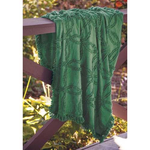 """Cactus Green Tufted Fringed Throw Blanket 60"""" x 50"""" - IMAGE 1"""