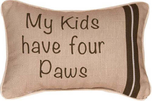 """Beige and Brown Dog Text Print Rectangular Throw Pillow with Flange 12.5"""" - IMAGE 1"""