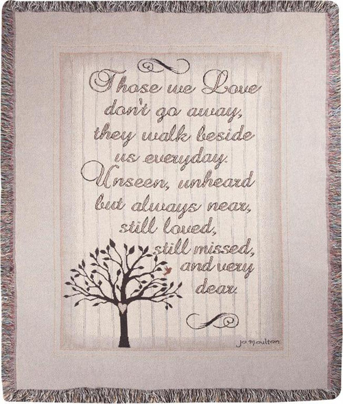 """Brown and Gray Inspirational 'Those We Love' Tapestry Throw Blanket 50"""" x 60"""" - IMAGE 1"""