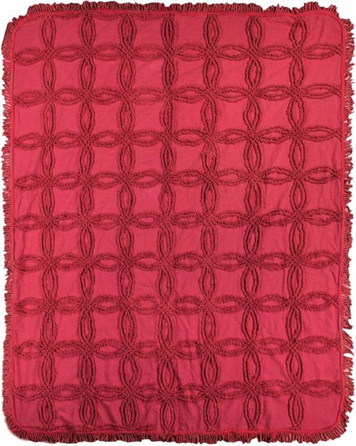 """Red Tufted Contemporary Fringed Throw Blanket 50"""" x 60"""" - IMAGE 1"""