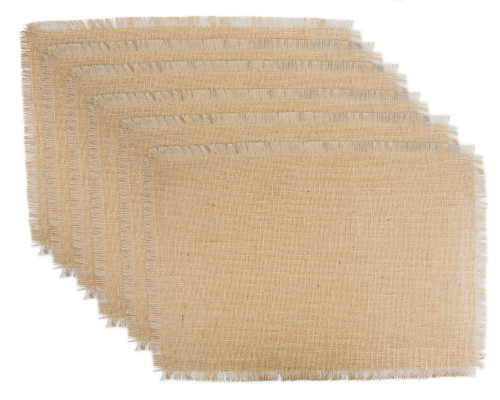 """Set of 6 Brown Solid Patterned Rectangular Placemats 19"""" x 13"""" - IMAGE 1"""