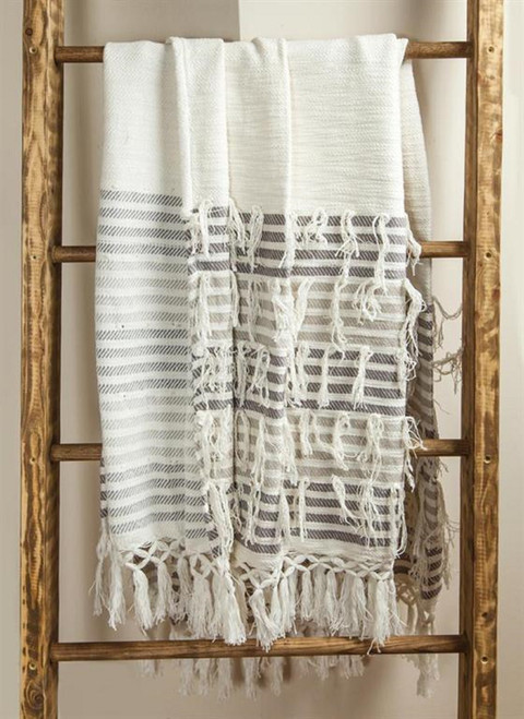"""White and Gray Embroidered Fringed Throw Blanket 60"""" x 50"""" - IMAGE 1"""