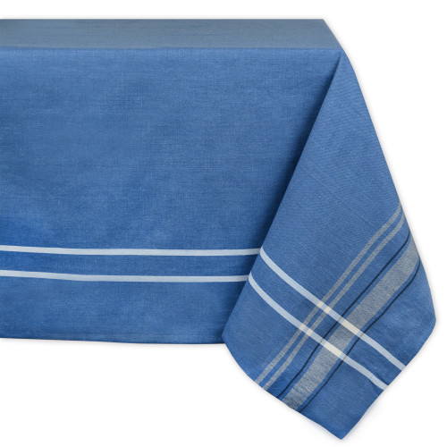 """Blue French Striped Pattern Rectangular Tablecloth 60"""" x 84"""" - IMAGE 1"""