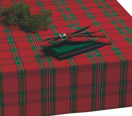 """60"""" x 120"""" Red and Green Plaid Pattern Rectangular Tablecloth - IMAGE 1"""