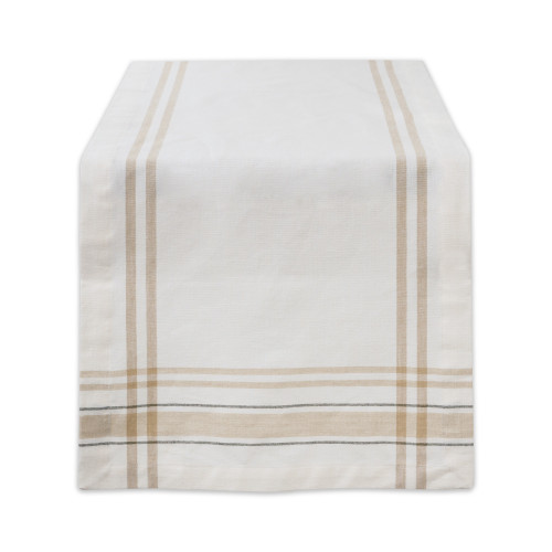 """14"""" x 72"""" Brown and White French Stripe Pattern Rectangular Table Runner - IMAGE 1"""