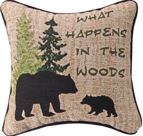 """Brown and Green """"What happens in the Woods"""" Quoted Square Throw Pillow with Piping 12.5"""" - IMAGE 1"""