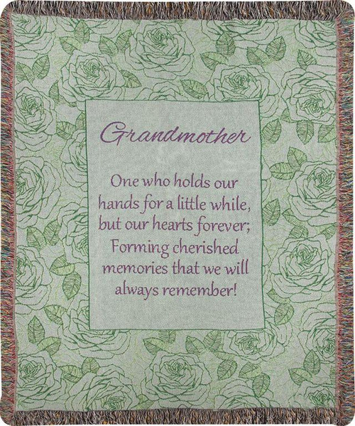 """Green and Brown Inspirational Fringed Throw Blanket 50"""" x 60"""" - IMAGE 1"""