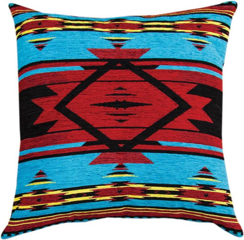 """26"""" Flame Red and Sea Blue Geometric Designed Square Throw Pillow - IMAGE 1"""