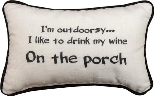"""12.5"""" White and Black """"I'm Outdoorsy"""" Printed Decorative Throw Pillow - IMAGE 1"""