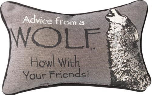 """Gray and Black Advice From A Wolf Printed Rectangular Throw Pillow 12.5"""" - IMAGE 1"""