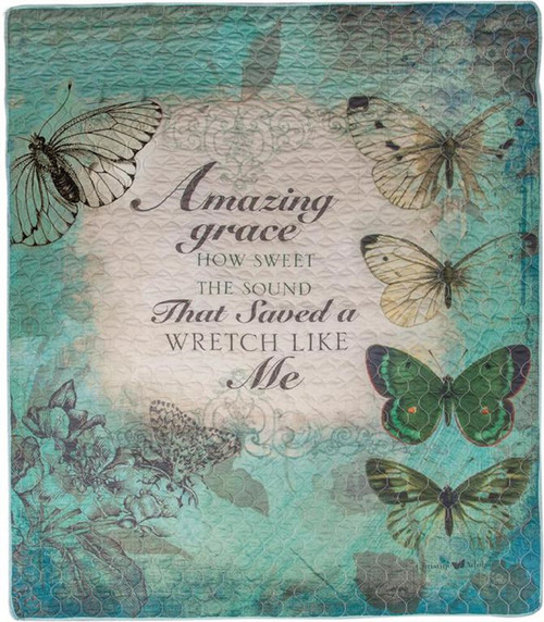 """Green and Blue Inspirational Butterfly Rectangular Throw Blanket 50"""" x 60"""" - IMAGE 1"""