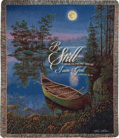 """Blue and Green Moonlight Bay Tapestry Fringed Throw Blanket 50"""" x 60"""" - IMAGE 1"""