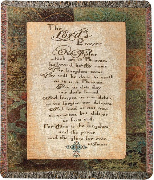 """Brown The Lord's Prayer Rectangular Tapestry Fringed Throw Blanket 50"""" x 60"""" - IMAGE 1"""