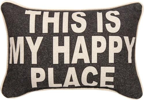 """12.5"""" Brown and Beige """"THIS IS MY HAPPY PLACE"""" Decorative Throw Pillow - IMAGE 1"""