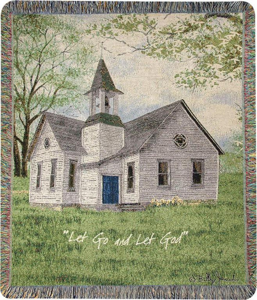 "Green and Gray Inspirational Let Go Let God Tapestry Fringed Throw Blanket 50"" x 60"" - IMAGE 1"