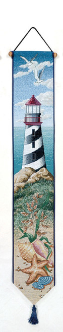 "41"" Blue and White Lighthouse View Tapestry Bell Pull Wall Hanging - IMAGE 1"