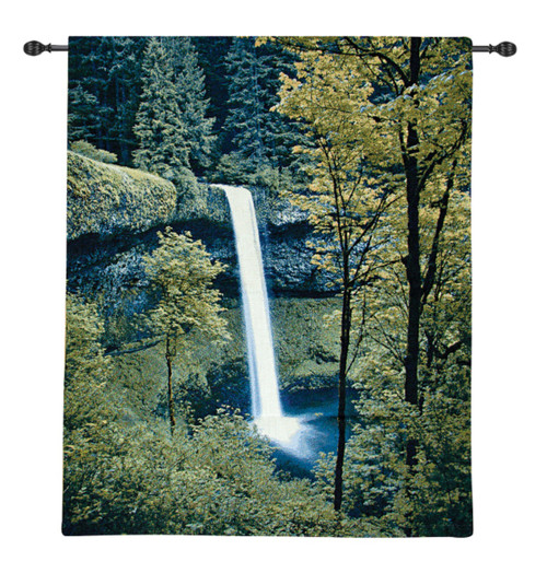 "Green and White Rainforest Falls Woven Wall Art Hanging Tapestry 42"" x 35"" - IMAGE 1"