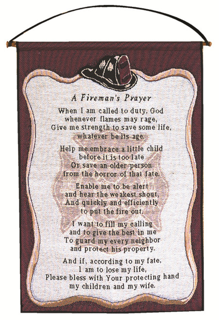 "Sangria Purple and White ""A Fireman's Prayer"" Wall Art Hanging Tapestry 25"" x 17"" - IMAGE 1"