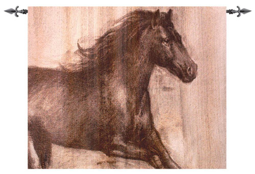 "Latte Brown and Hickory Brown Dynamic Stallion Grande Wall Art Hanging Tapestry 60"" x 50"" - IMAGE 1"