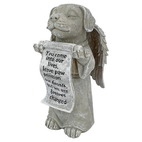"""9.5"""" Dog Memorial Paw Prints on Your Heart Angelic Statue - IMAGE 1"""