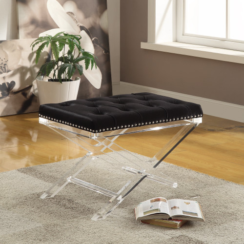 """24"""" Black and Clear Contemporary Rectangular Button Tufted Chair - IMAGE 1"""