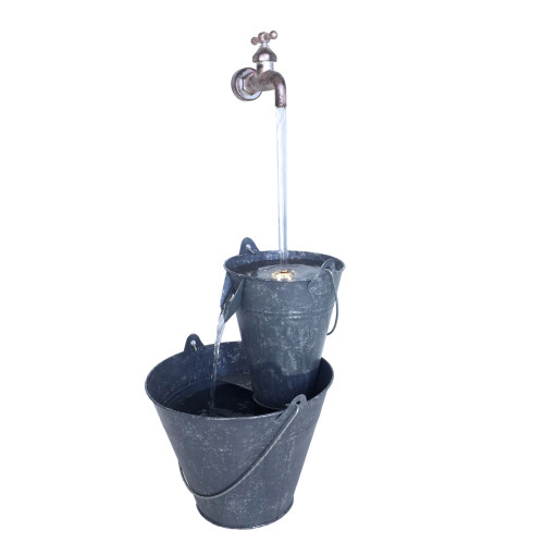 """23.5"""" Gray Pails Outdoor Garden Fountain with Tap - IMAGE 1"""
