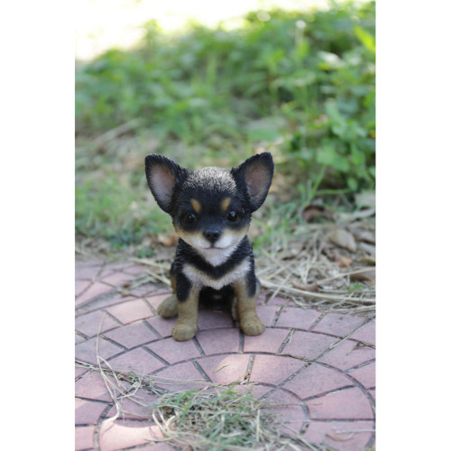"""6.5"""" Black and Brown Sitting Chihuahua Puppy Statue - IMAGE 1"""