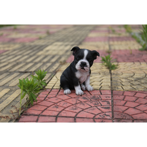 """6.5"""" Black and White Sitting Boston Terrier Puppy Statue - IMAGE 1"""