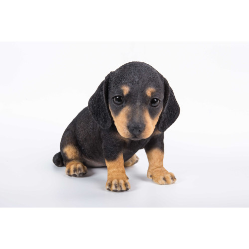 """7.5"""" Black and Brown Dachshund Puppy Statue - IMAGE 1"""