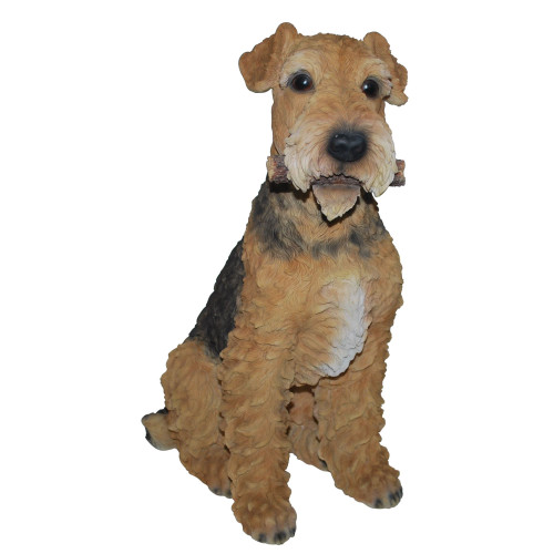 "18"" Brown and Black Airedale Terrier Garden Outdoor Statue - IMAGE 1"