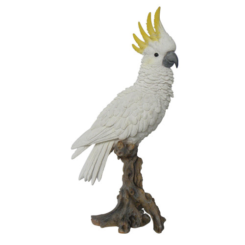 """15"""" White and Brown Cockatoo on Branch Statue - IMAGE 1"""